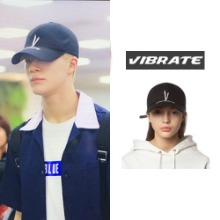 [VIBRATE] V CHECKING MULTI LOGO BALL CAP BLACK_NCT