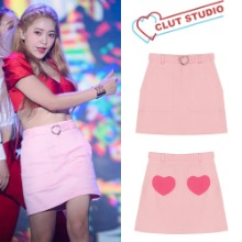 [CLUT STUDIO] 10HEART BELT DENIM SKIRT_REDVELVET