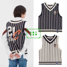 [ROMANTICCROWN] V NECK STRIPE VEST 2COLOR