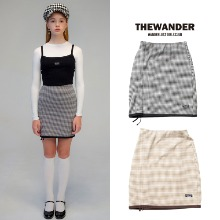 [THE WANDER] HOUNDTOOTH STRING SKIRT 2COLOR