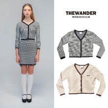 [THE WANDER] HOUNDTOOTH CROP CARDIGAN 2COLOR