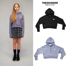 [THE WANDER] OVAL LOGO CROP HOODIE 2COLOR
